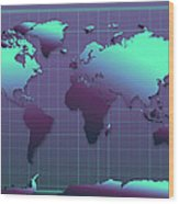 World Map In Dark Green Wood Print