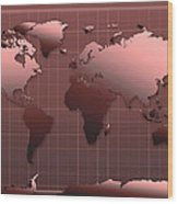 World Map In Dark Red Wood Print