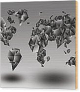 World Map In Geometic Gray  Wood Print