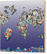 World Map In Geometric Fractal 2 Wood Print