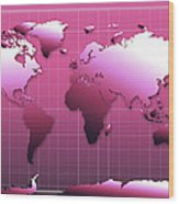 World Map In Pink Wood Print
