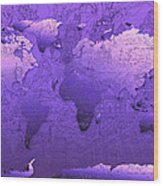 World Map In Purple Wood Print