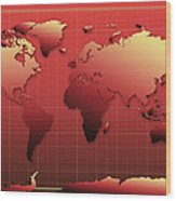 World Map In Red Wood Print