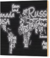 World Map In Text Neon Light Wood Print