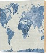 World Map In Watercolor Blue Wood Print