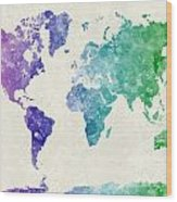 World Map In Watercolor Multicolored Wood Print