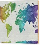 World Map In Watercolor Rainbow Wood Print
