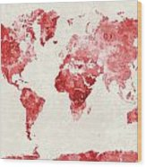 World Map In Watercolor Red Wood Print