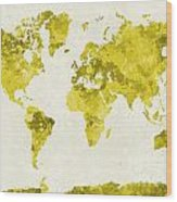World Map In Watercolor Yellow Wood Print