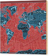 World Map Landmark Collage 11 Wood Print