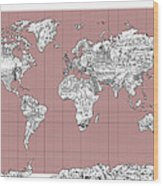 World Map Landmark Collage 2 Wood Print