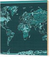 World Map Landmark Collage 4 Wood Print