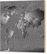 World Map Landmark Collage 6 Wood Print