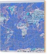 World Map Landmark Collage 8 Wood Print