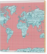 World Map Landmark Collage Wood Print