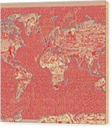 World Map Landmark Collage Red Wood Print