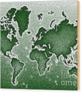 World Map Novo In Green Wood Print