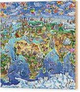 World Map Of World Wonders Wood Print