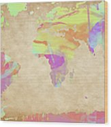 World Map Pastel Watercolors Wood Print