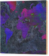 World Map - Purple Flip The Dark Night - Abstract - Digital Painting 2 Wood Print