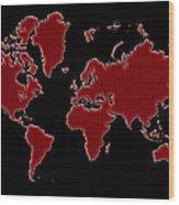 World Map Red Grid Wood Print