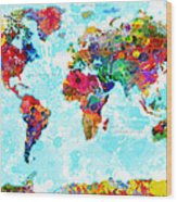 World Map Spattered Paint Wood Print