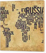 World Map Typography 6 Watercolor Painting Wood Print