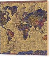 World Map Vintage Wood Print