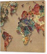 World Map Watercolor Painting 1 Wood Print