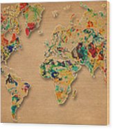 World Map Watercolor Painting 2 Wood Print