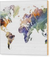 World Map Watercolor Painting Wood Print