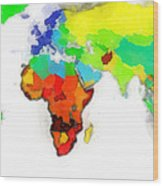 World Map Wathercolor Wood Print