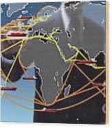 World Shipping Routes Map Wood Print