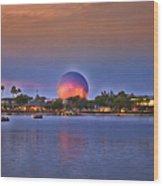 World Showcase Lagoon Sunset Wood Print