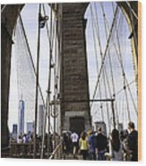 World Trade Center Through The Bridge Wood Print
