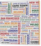 World Travel Wood Print