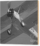 Stearman Trainer Bi Plane Black And White Wood Print