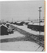 World War II, Winter Storm, Manzanar Wood Print