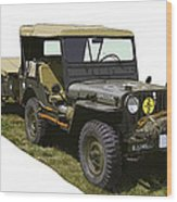 World War Two Army Jeep With Trailer  Wood Print