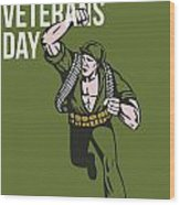World War Two Veterans Day Soldier Card Wood Print