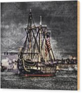 World's Oldest Commissioned Warship Afloat - Uss Constitution Wood Print