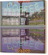 Worms And Coffee Sign Wood Print