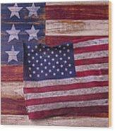 Worn American Flag Wood Print