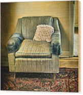 Worn Chair By Doorway Wood Print