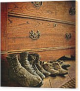 Worn Family Shoes Linded Up Wood Print