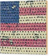 Worn Out American Flag Wood Print