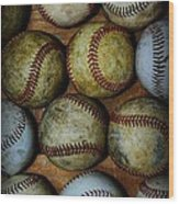 Worn Out Baseballs Wood Print
