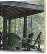 Worn Wicker Chairs On Old Veranda Wood Print