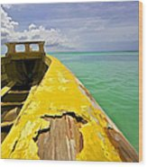 Worn Yellow Fishing Boat Of Aruba Wood Print
