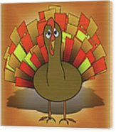 Worried Turkey Illustration Wood Print